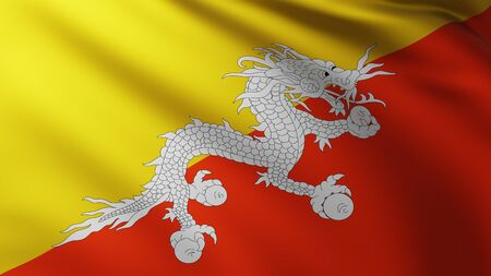 Large Flag of Bhutan fullscreen background in the wind with wave patterns Reklamní fotografie