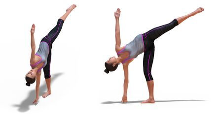 Front and Left Profile Poses of a Virtual Woman in Yoga Half Moon Pose with a white background