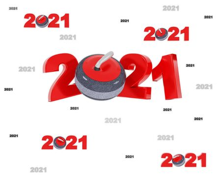 Many Curling 2021 Designs with many Stones on a White Background