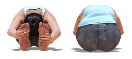 Front and Back Poses of a virtual Woman in Yoga Seated Forward Bend pose with a white background