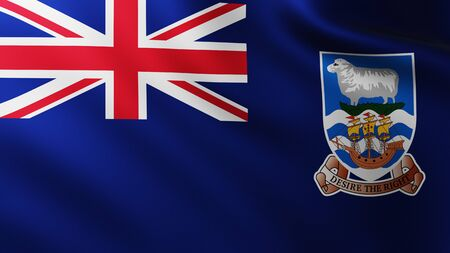 Large Flag of Falkland Islands fullscreen background in the wind with wave patterns