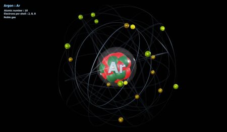 Atom of Argon with Core and 18 Electrons with a black background Reklamní fotografie