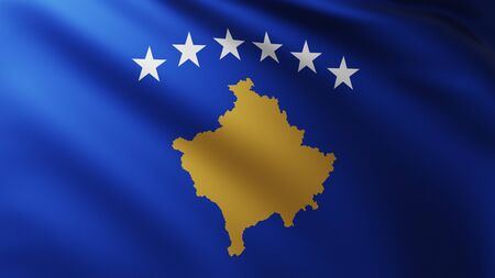 Large Flag of Kosovo fullscreen background in the wind with wave patterns