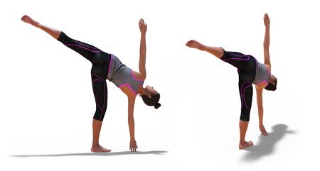 Back and Right Profile Poses of a virtual Woman in Yoga Half Moon Pose with a white background