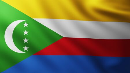 Large Flag of Comores fullscreen background in the wind with wave patterns Reklamní fotografie