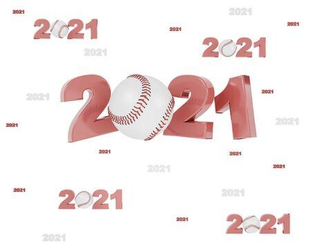 Many Baseball 2021 Designs with many Balls on a White Background Reklamní fotografie