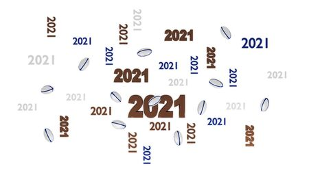 Top View of Several Rugby 2021 Designs with Some Balls on a White Background