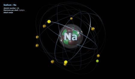 Atom of Sodium with Core and 11 Electrons with a black background Standard-Bild