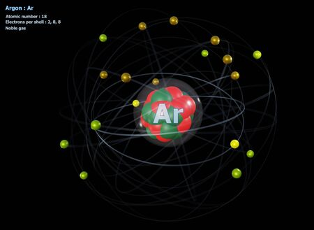 Atom of Argon with detailed Core and its 18 Electrons with a black background