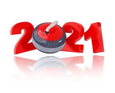 Curling 2021 Design with a White Background Reklamní fotografie