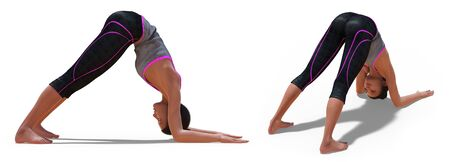 Back and Right Profile Poses of a virtual Woman in Yoga Dolphin Pose with a white background