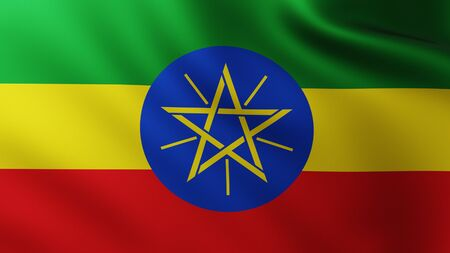 Large Flag of Ethiopia fullscreen background in the wind with wave patterns Reklamní fotografie