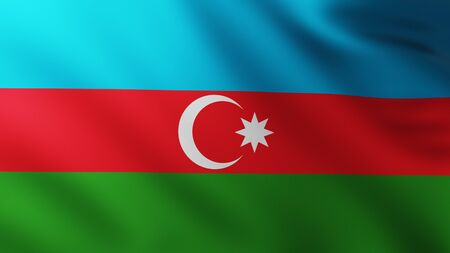 Large Flag of Azerbaijan fullscreen background in the wind with wave patterns Reklamní fotografie