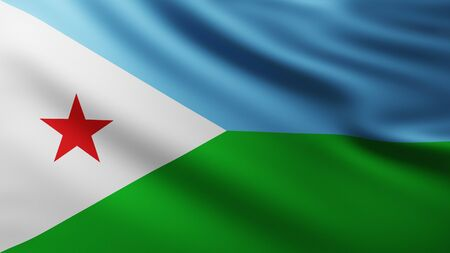 Large Flag of Republic of Djibouti fullscreen background in the wind with wave patterns