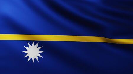 Large Flag of Republic of Nauru fullscreen background in the wind with wave patterns Reklamní fotografie
