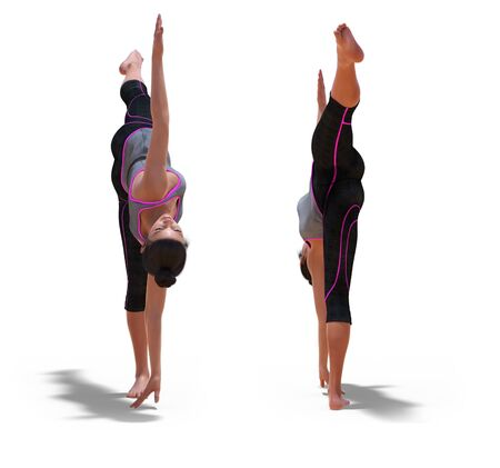 Front and Back Poses of a virtual Woman in Yoga Half Moon Pose with a white background