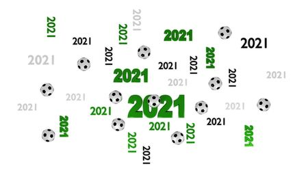 Top View of Several Football 2021 Designs with Some Balls on a White Background