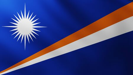 Large Flag of Marshall Islands fullscreen background in the wind with wave patterns