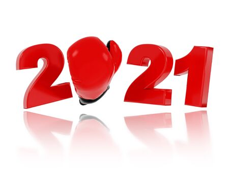 Boxing Glove 2021 Design with a White Background Reklamní fotografie