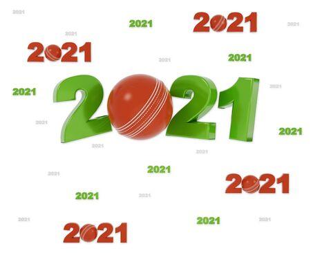 Many Cricket 2021 Designs with many Balls on a White Background Reklamní fotografie