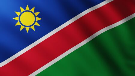 Large Flag of Namibia fullscreen background in the wind with wave patterns