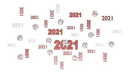 Top View of Several Baseball 2021 Designs with Some Balls on a White Background Reklamní fotografie