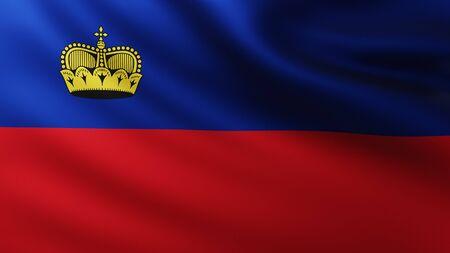 Large Flag of Liechtenstein fullscreen background in the wind with wave patterns