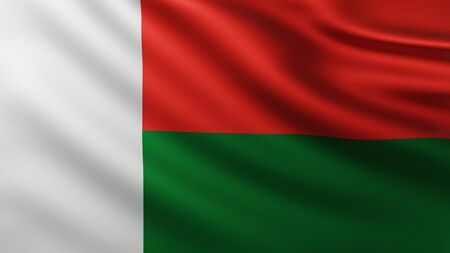 Large Flag of Madagascar fullscreen background in the wind with wave patterns