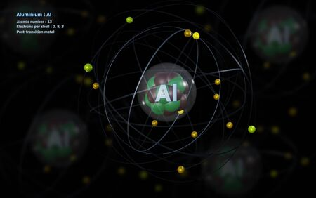 Atom of Aluminium with detailed Core and its 13 Electrons with Atoms in background