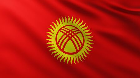 Large Flag of Kyrgyzstan fullscreen background in the wind with wave patterns