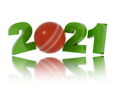 Cricket ball 2021 Design with a White Background