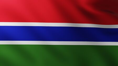 Large Flag of Gambia fullscreen background in the wind with wave patterns Reklamní fotografie