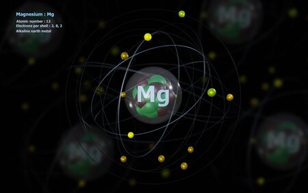 Atom of Magnesium with detailed Core and its 12 Electrons with Atoms in background Banco de Imagens