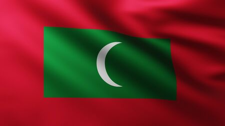 Large Flag of Maldives Islands fullscreen background in the wind with wave patterns Reklamní fotografie
