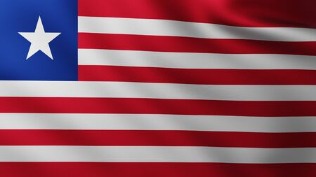 Large Flag of Liberia fullscreen background in the wind with wave patterns Reklamní fotografie