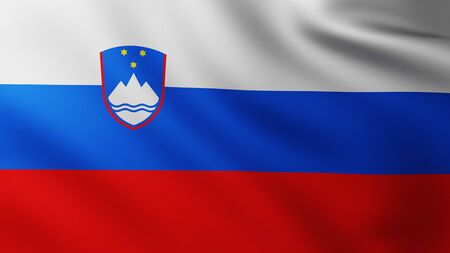 Large Flag of Slovenia fullscreen background in the wind with wave patterns