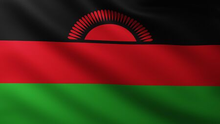 Large Flag of Malawi fullscreen background in the wind with wave patterns