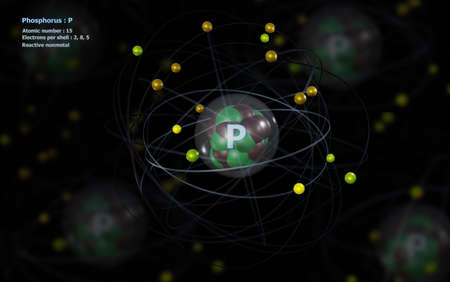 Atom of Phosphorus with detailed Core and its 15 Electrons with Atoms in background Standard-Bild
