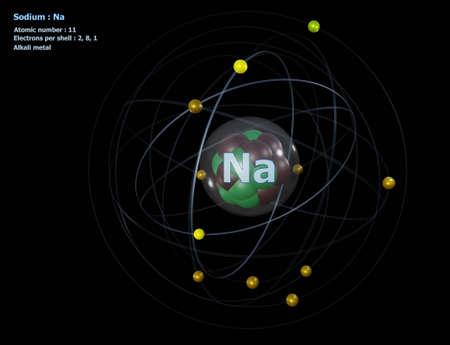 Atom of Sodium with detailed Core and its 11 Electrons with a black background Standard-Bild