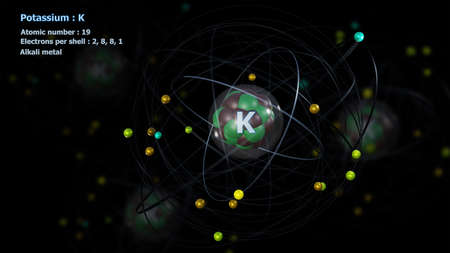 Atom of Potassium with detailed Core and its 19 Electrons with Atoms in background
