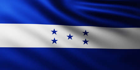 Large Flag of Honduras Republic fullscreen background in the wind with wave patterns