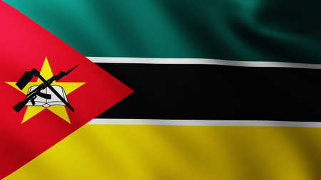 Large Flag of Republic of Mozambique fullscreen background in the wind with wave patterns