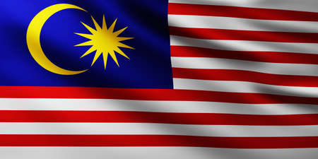 Large Flag of Malaysia fullscreen background in the wind with wave patterns