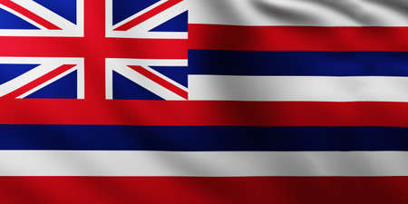 Large Flag of Hawai Island fullscreen background in the wind with wave patterns