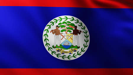 Large Flag of Belize Island fullscreen background in the wind with wave patterns