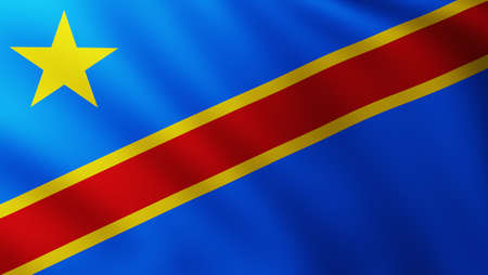 Large Flag of Democratic Republic of Congo fullscreen background in the wind with wave patterns
