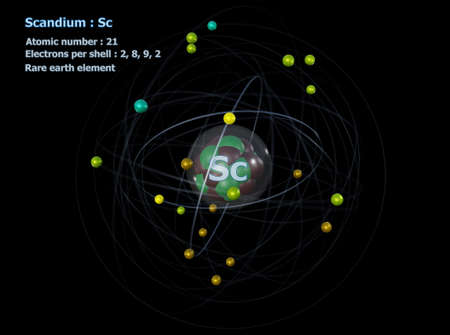 Atom of Scandium with detailed Core and its 21 Electrons with a black background