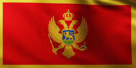 Large Flag of Montenegro fullscreen background in the wind with wave patterns Reklamní fotografie