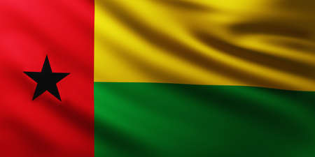 Large Flag of Ghine-Bissau fullscreen background in the wind with wave patterns