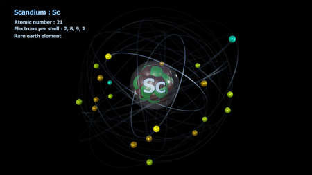 Atom of Scandium with Core and its 21 Electrons with a black background